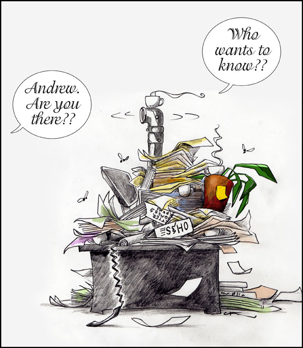 cartoon cluttered desk hiding occupant