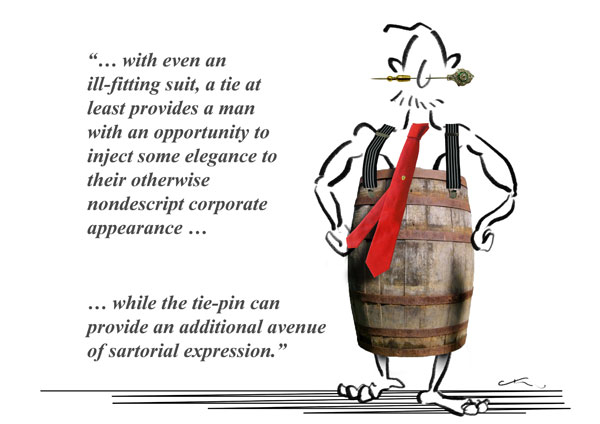 man wearing tie wine barrel