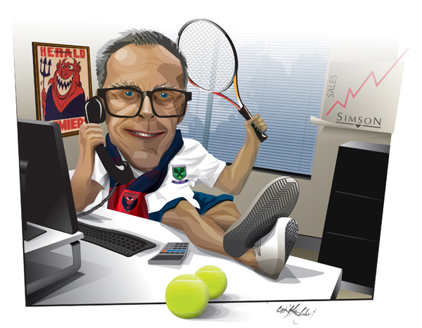 caricature man desk hobbies marketing executive professional