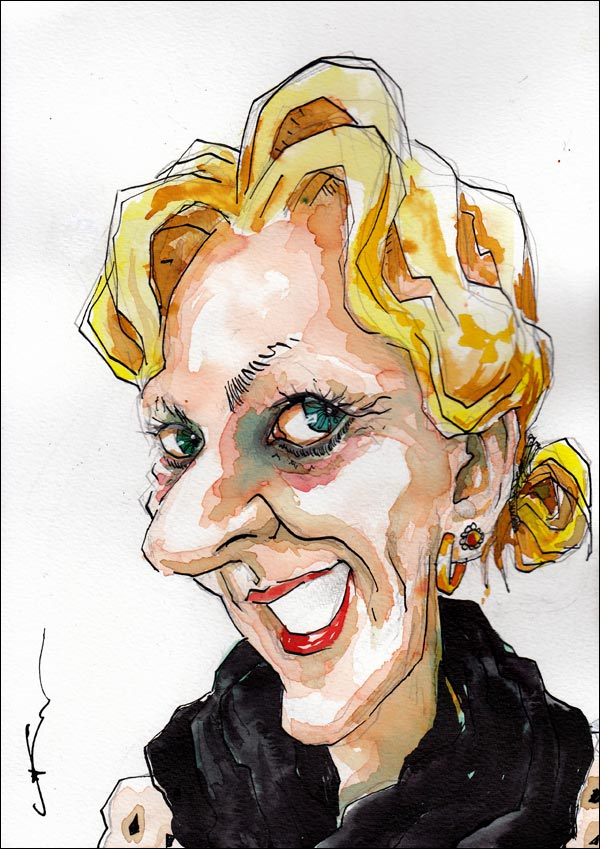 gift caricature tall blonde woman