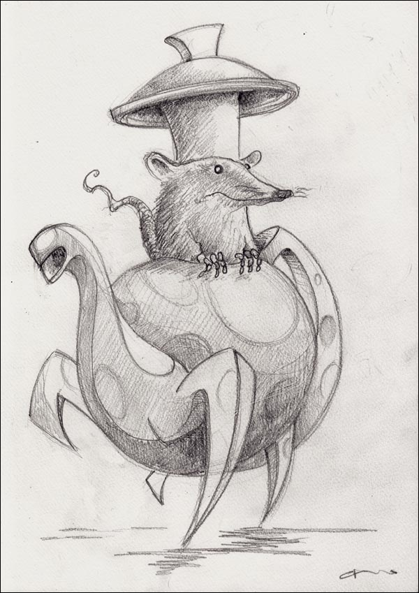 illustration surprised mouse looking out of teapot