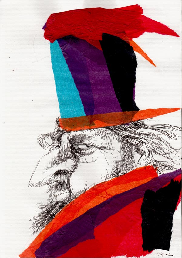illustration wealthy man multi-coloured hat redcoat