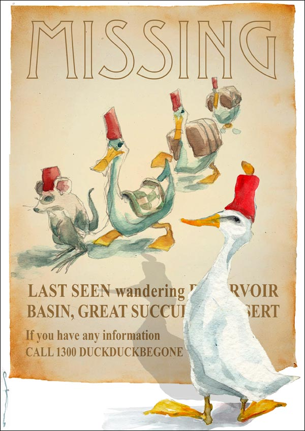Duck with red fez reads a poster about a caravan of ducks missing in the desert