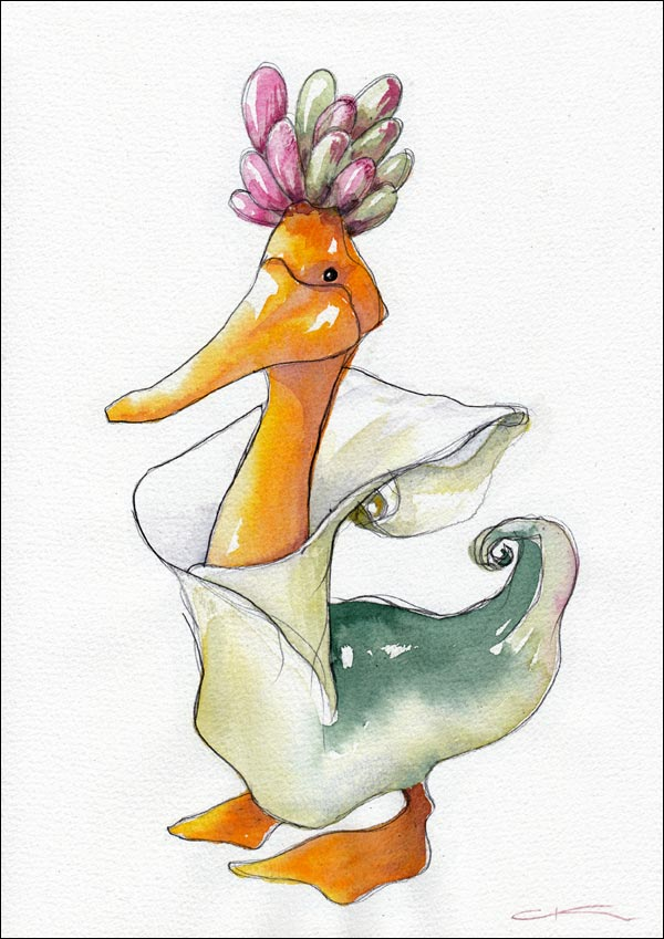 A duck dressed as a lily with a hat of succulents