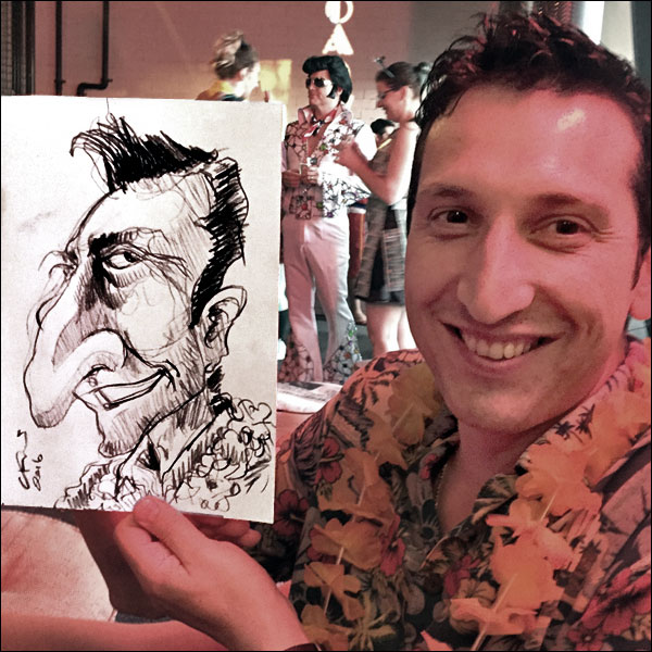 live caricature private party man