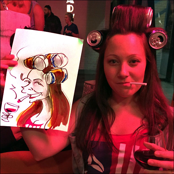 live caricature private fancy dress party woman