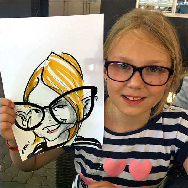 live caricature children's charity party